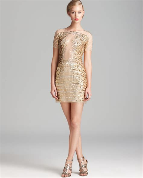 beaded gold dress basix black label beaded mesh dress sleeve in gold