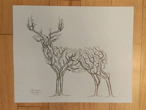 tree made of branches deer in the woods made of tree branches design 11x14 print of