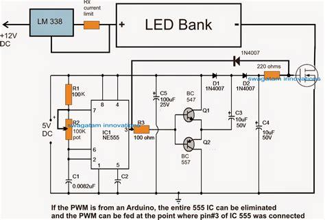 light controller schematic pwm led light intensity controller circuit