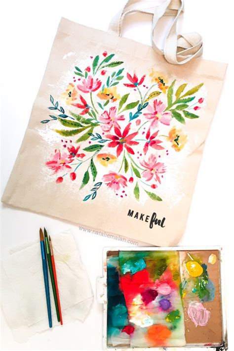 acrylic paint on a canvas bag acrylic floral tote bag makeful