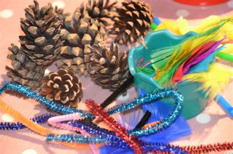 glow in the paint elc things to make with pinecones