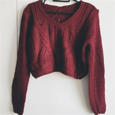maroon knit sweater lace up back cropped knit sweater maroon 183 megoosta