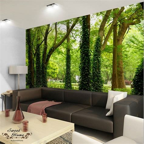 what are wall murals green forest nature landscape wall paper wall print decal