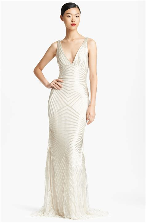 low back beaded dress naeem khan low back beaded gown in white silver lyst