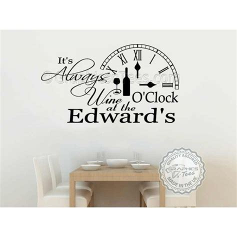 kitchen wall quote stickers it s always wine o clock kitchen wall sticker