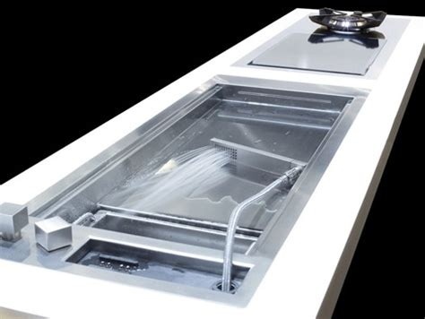 shallow kitchen sink shallow prep sink from glem with a cascading water jet