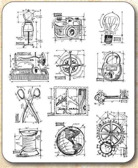 rubber number st tim holtz cling rubber st set mini blueprints 3