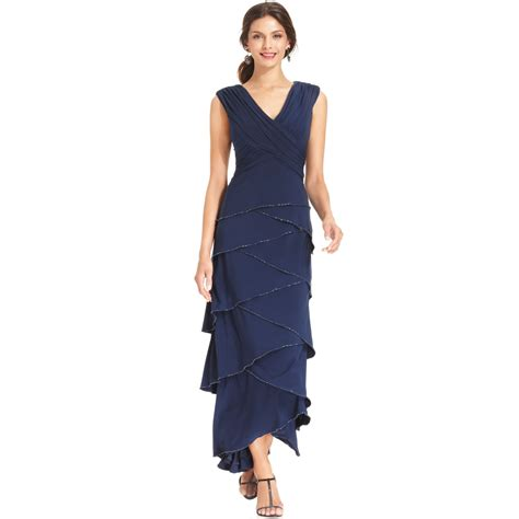 Patra Sleeveless Tiered Beaded Gown In Blue Navy