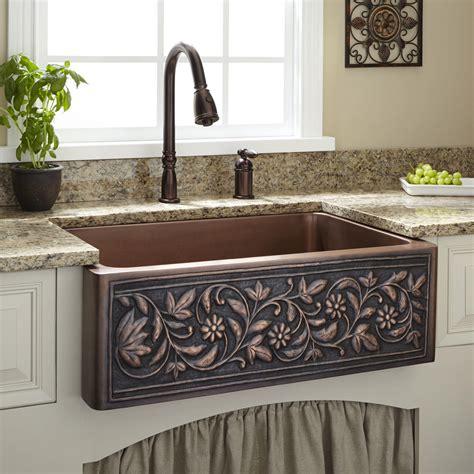 farmhouse style kitchen sinks 15 quot vine pattern copper sink bathroom