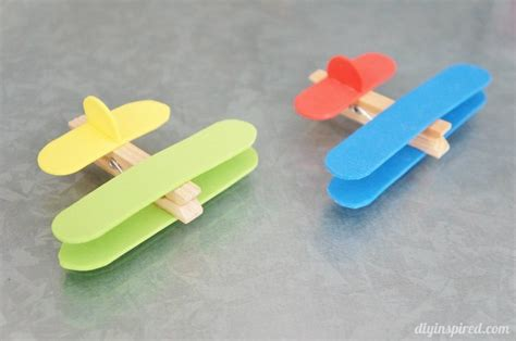 simple kid crafts airplane clothespin craft diy inspired