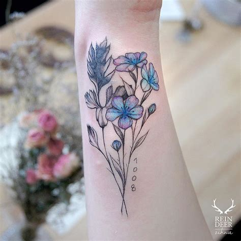 blue amp pink flowers best tattoo design ideas