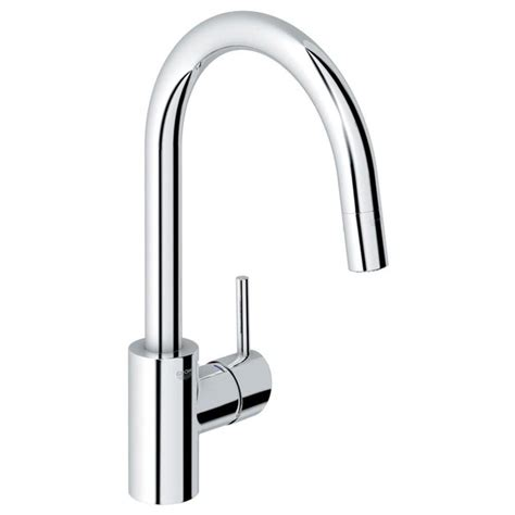 shop grohe concetto starlight chrome 1 handle deck mount pull kitchen faucet at lowes
