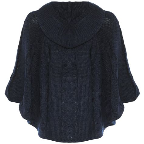 knitted hooded poncho knitted cable knit cape poncho hooded toggle jumper
