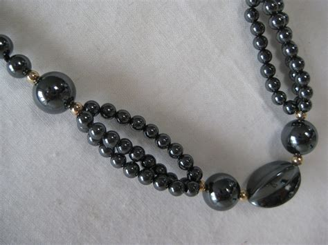 hematite bead necklace hematite bead necklace vintage gray by vintagejewelryalcove