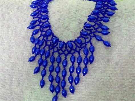 seed bead choker patterns free pattern for beautiful beaded necklace blue drops