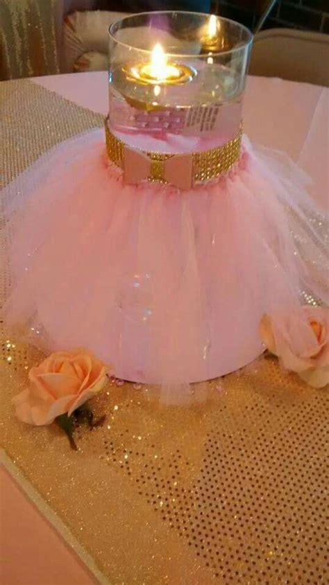 centerpiece for a baby shower pink and gold princess baby shower diy tutu glass