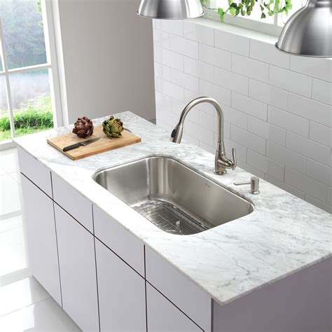 bowl kitchen sinks kraus stainless steel 16 undermount 31 5 quot single