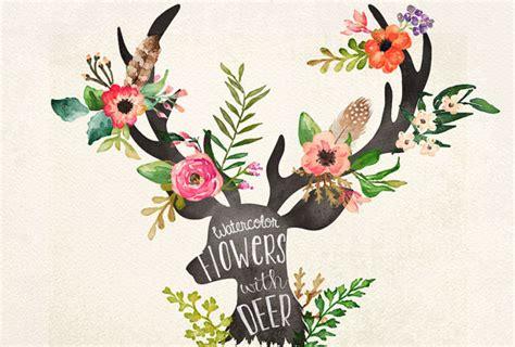watercolor flowers with deer head on behance
