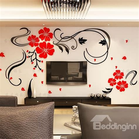 images of wall stickers gorgeous floral and butterfly pattern living room 3d wall