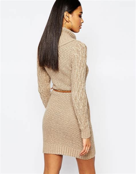 cable knit dress lipsy cable knit dress with cowl neck in brown lyst