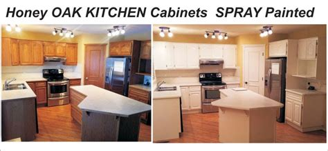 spray painting kitchen cabinets before and after 01 oak into white kitchen refinishing www alta pro spray
