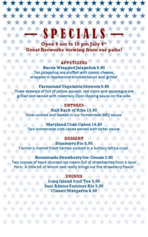 independence day restaurant menu 4th of july menus