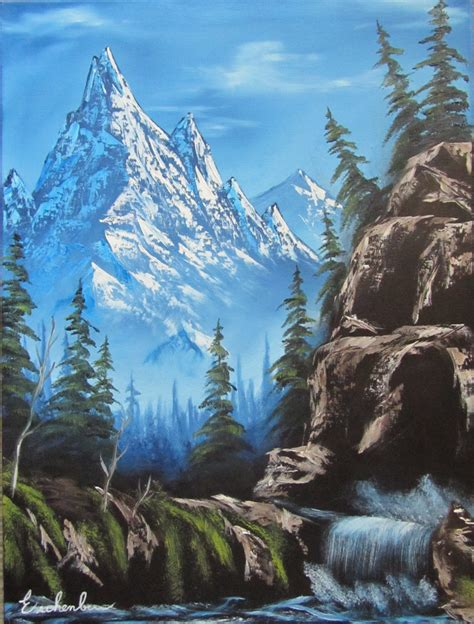 bob ross painting a waterfall mountain by a cliff side waterfall bob ross style