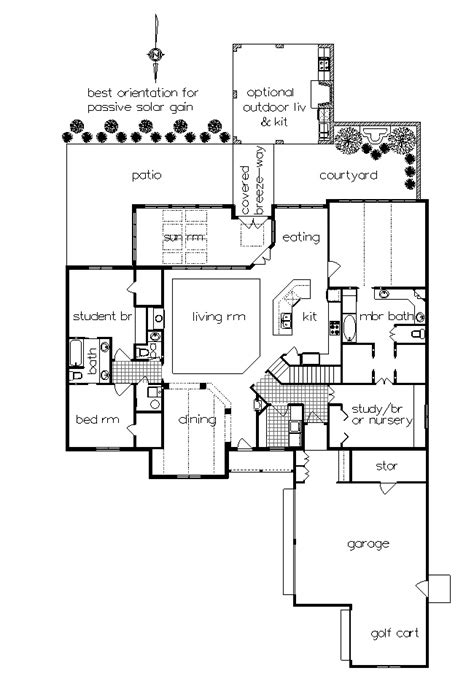 outdoor living floor plans one story home plan with sunroom