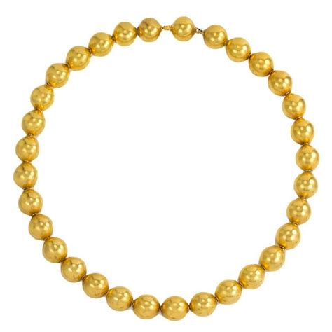 19th Century Gold Bead Necklace For Sale At 1stdibs