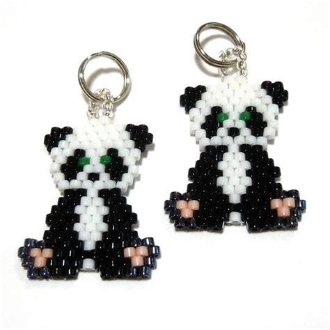 beaded panda seed bead panda charm by beadcrumbs on etsy