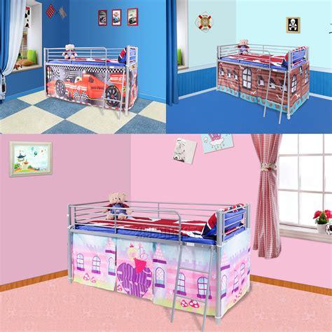 mid sleeper bunk beds foxhunter childrens metal mid sleeper cabin bunk bed
