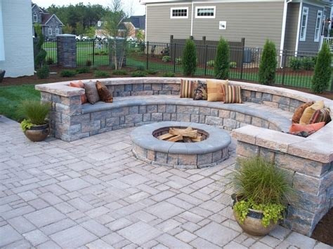 patio with pavers paver patio with firepit and all around sitting wall