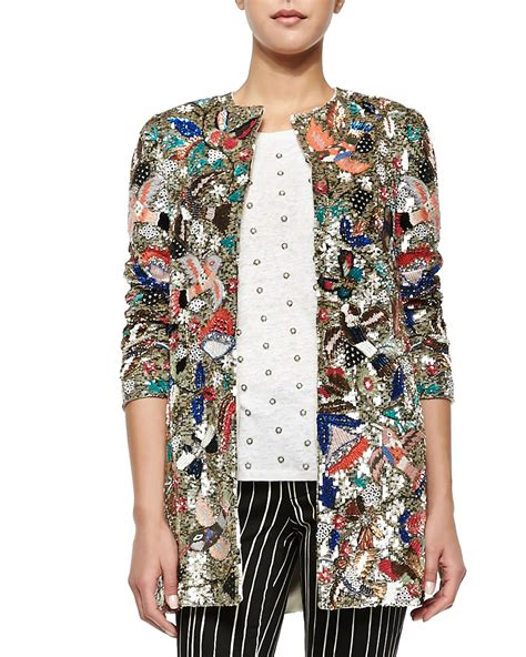 beaded jacket rory beaded sequined collarless jacket in