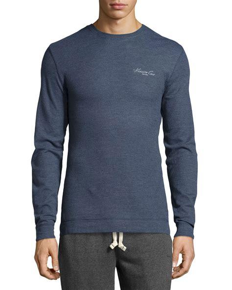 waffle knit sleeve kenneth cole sleeve waffle knit crewneck in blue