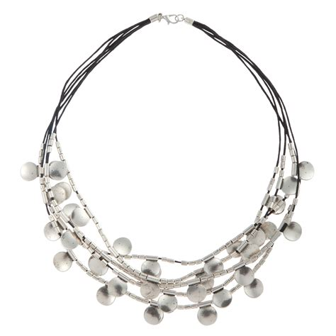 silver discs for jewelry lewis multi row metal disc necklace in silver