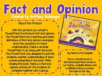 fact and opinion picture books fact and opinion activity children s book unit by