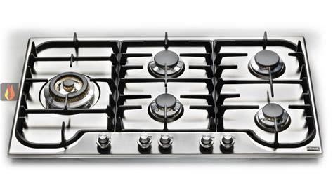 plaque de cuisson en inox gaz 90 cm inox encastrable 5 foyers dont 1 foyer wok ilve ec ilv352