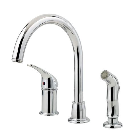 pfister faucets kitchen pfister cagney single handle standard kitchen faucet with side sprayer in polished chrome lf wk1