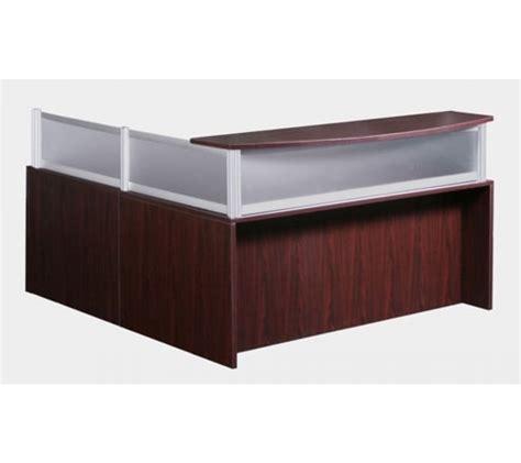 office desk privacy panel reversible l shape mahogany reception desk with plexi