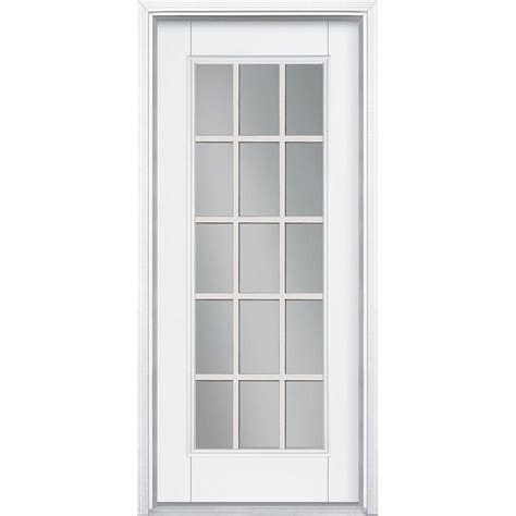 interior glass doors home depot masonite 36 in x 80 in white 15 lite left inswing primed steel prehung front door with