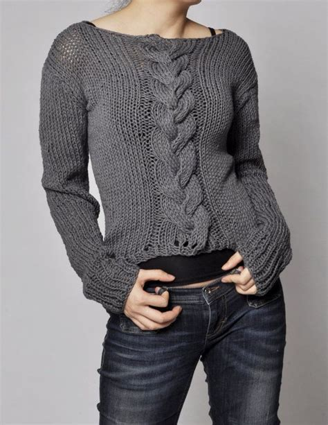 knit sweat knitted sweater charcoal sweater cable pattern