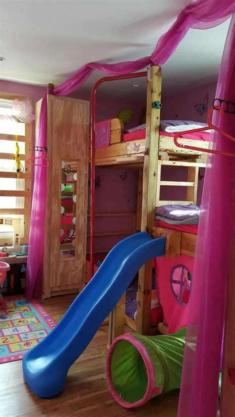 boy bunk bed with slide custom made tripple bunk bed with slide monkey bars