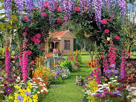 home flower gardens wallpaper