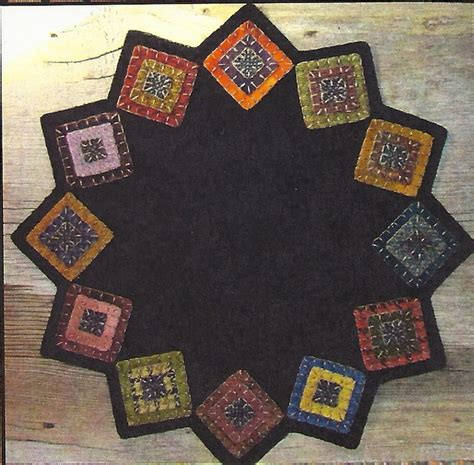 Penny Rugs Free Patterns by Primitive Folk Art Wool Applique Pattern Squared Up Table Mat