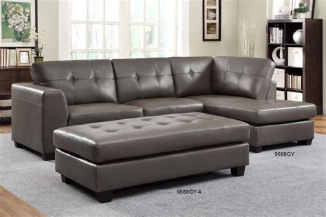 small gray sectional sofa homelegance modern small tufted grey leather sectional