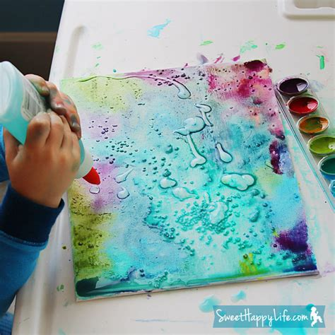 watercolor effect with acrylic paint on canvas 10 diy painting activities for