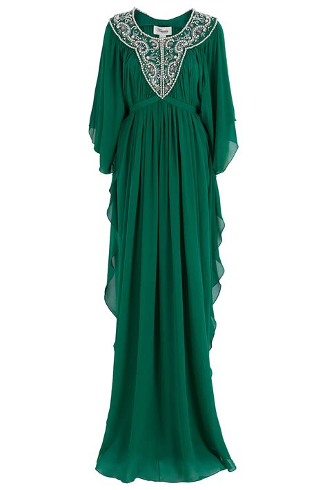 beaded kaftan dress temperley beaded kaftan in green lyst