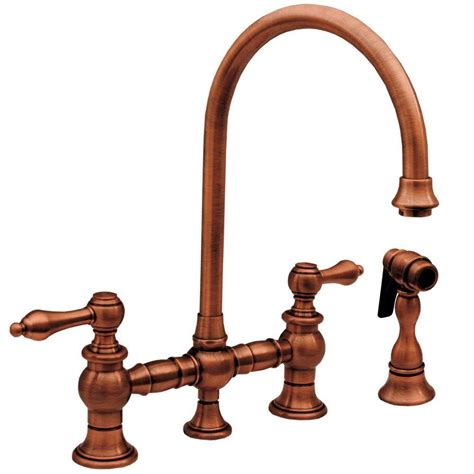 whitehaus collection vintage iii 2 handle standard kitchen faucet with side sprayer in antique