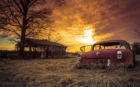 Car Sunset Wallpaper by Wallpaper Abandoned Car Sliders Sunday Sunset