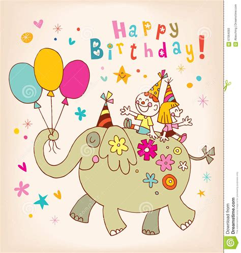 greeting card for children happy birthday greeting card stock vector image